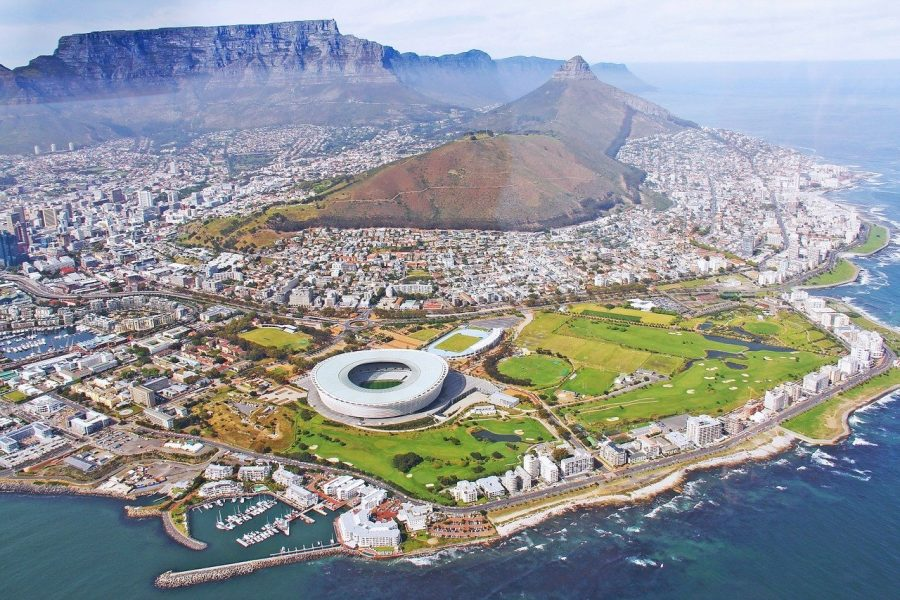 Helicopter view of Cape Town Africa.