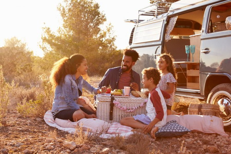 Family enjoying a picnic by a Volkswagen Type 2 Bus van.