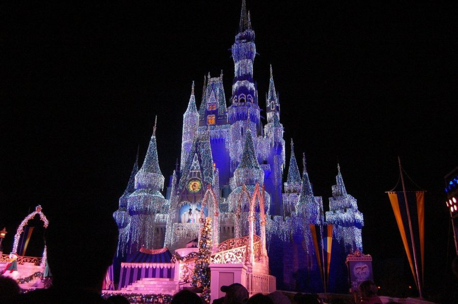 Christmas lights on castle in Magic Kingdom Disney theme park.