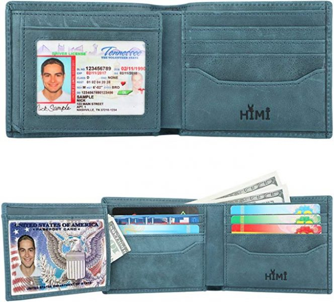 Green/blue RFID blocking wallet for him