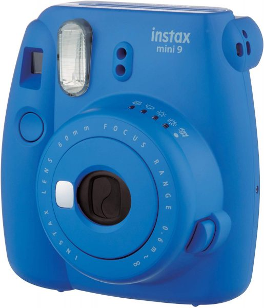 Blue Fujifilm instax mini 9 camera for valentine's day gift.