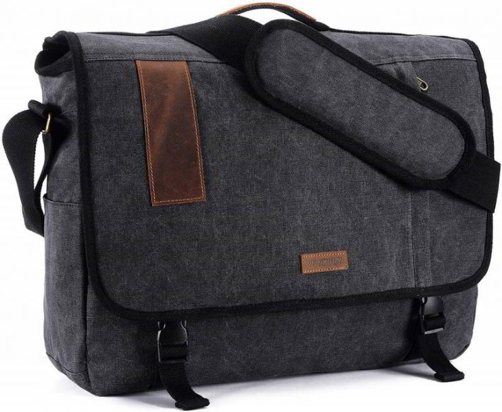 Dark grey messenger bag for him.