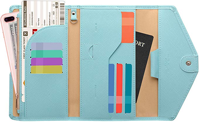 Light blue RFID blocking travel wallet for her.