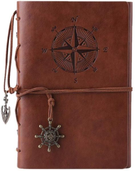 Dark brown leather travel journal.