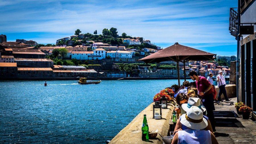 Restaurants by the coastal line in Porto, Portugal.