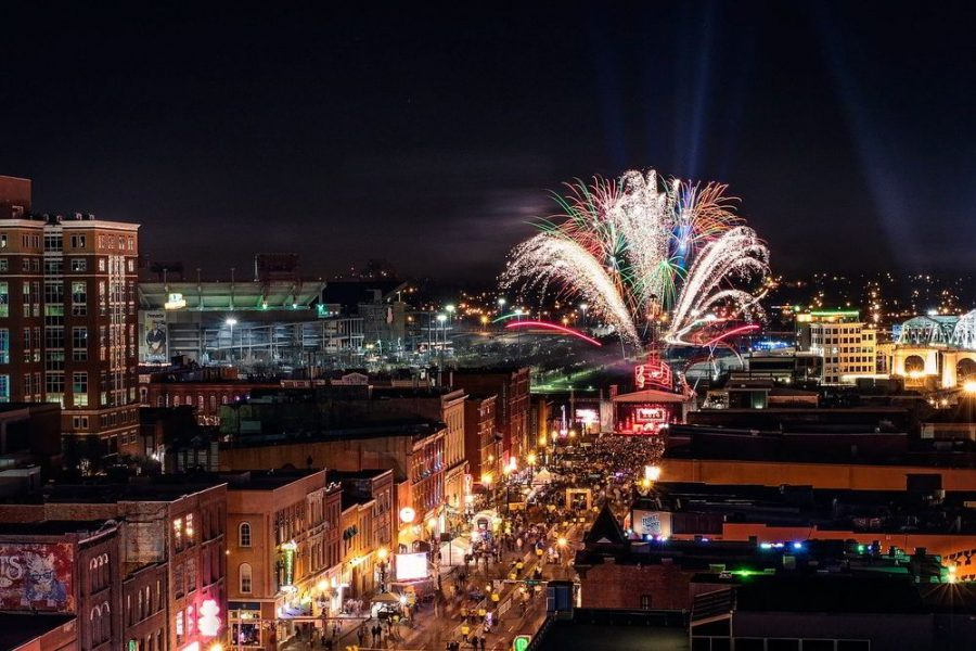 Fireworks and buildings in Nashville, Tennessee.