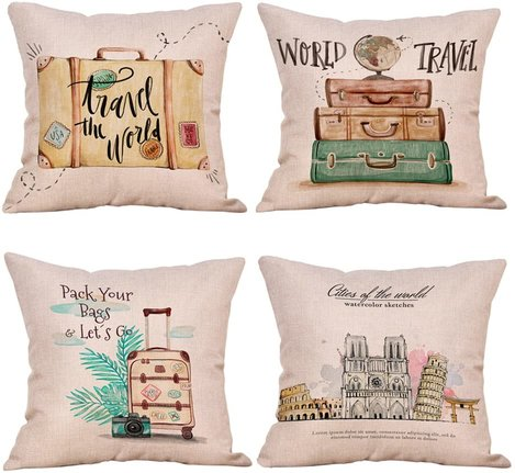 Travel decor throw pillows