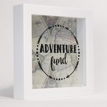 Shadow box frame with travel decor inspiration