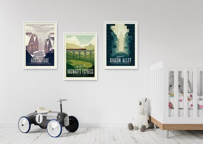 Vintage travel signs for wall decor in home.
