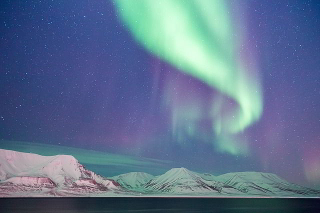 aurora borealis in Svalbard, Norway.