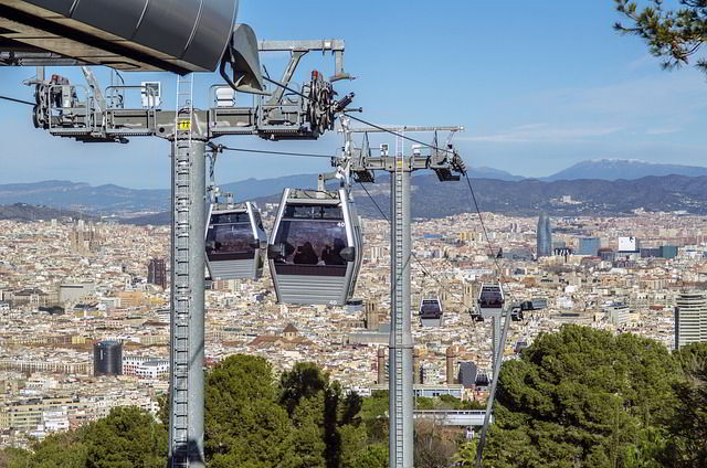 Cable car transport in Barcelona, Spain.