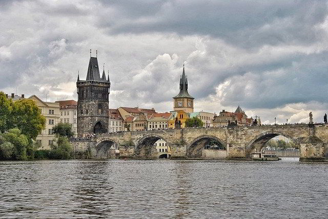 Stone bridge in Prague, Czech Republic..
