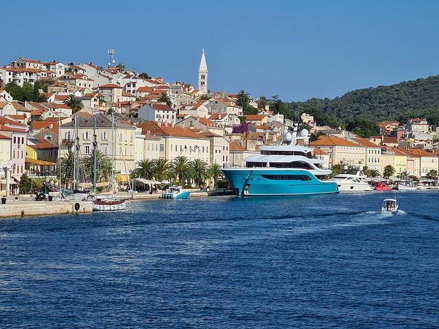 Coastal village on the Adriatic sea in Croatia.
