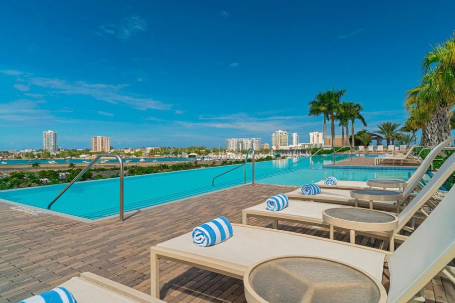 Sunbeds around the pool at Sheraton Puerto Rico Hotel & Casino