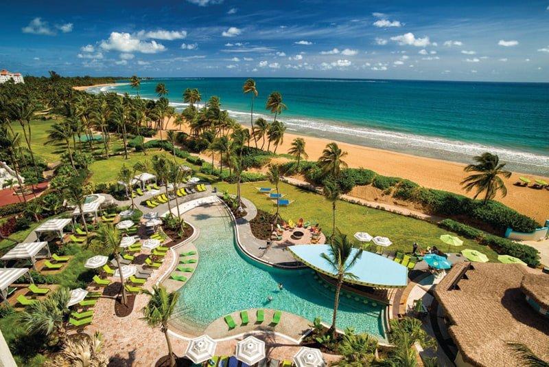 Pool and beach at ocean Wyndham Grand Rio Mar Puerto Rico Golf & Beach Resort